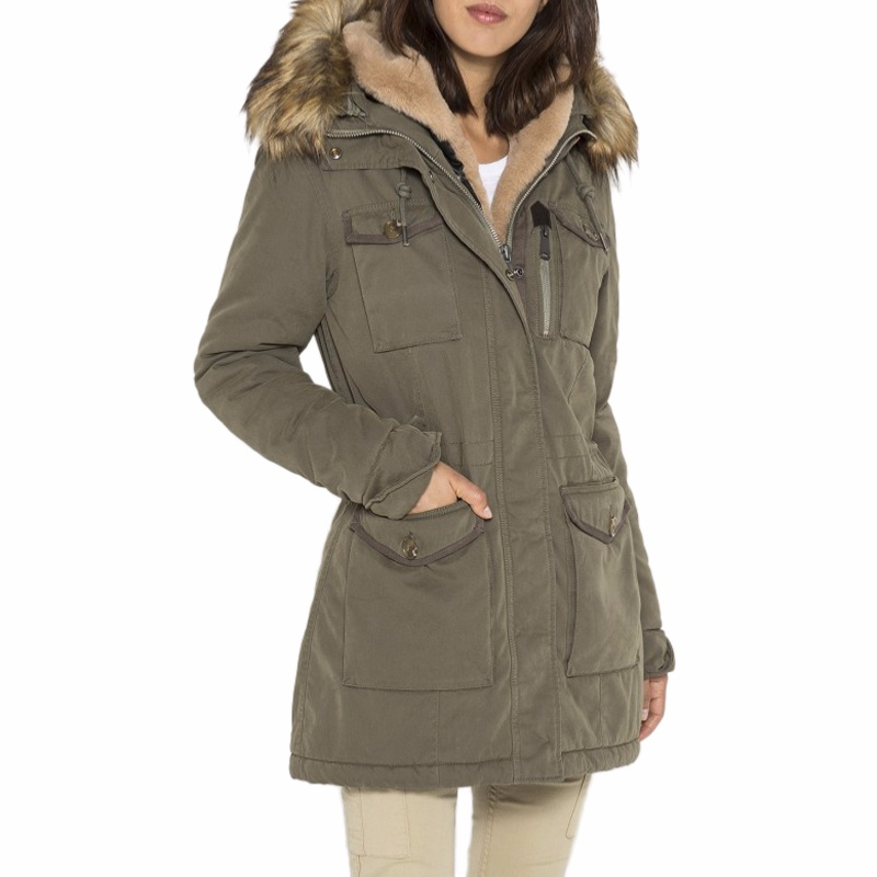 manteau parka femme schott kaki army doublure amovible. Black Bedroom Furniture Sets. Home Design Ideas
