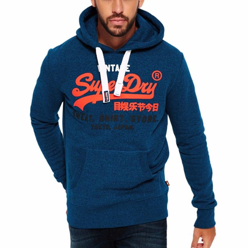 Sweat Superdry à capuche pour homme, bleu avec logo orange