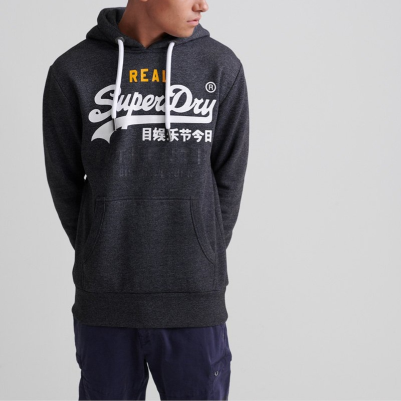 Sweat Superdry Authentic Tri Hood gris foncé