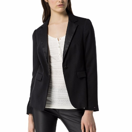 veste blazer tommy hilfiger femme mod le christy noire. Black Bedroom Furniture Sets. Home Design Ideas