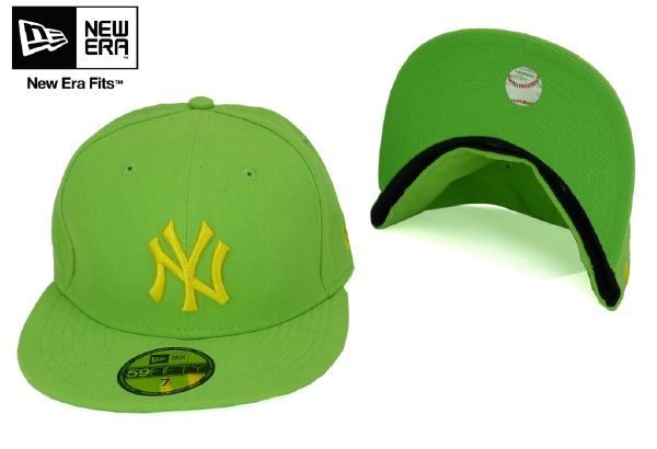 "new era - casquette new era NY New York"" Seascont Mlb Neyyan "" verte , logo NY brodé jaune"