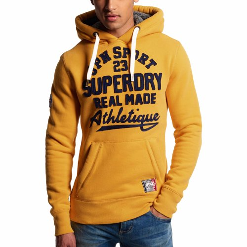 Sweat Superdry Core Applique Hood en coton jaune pour homme