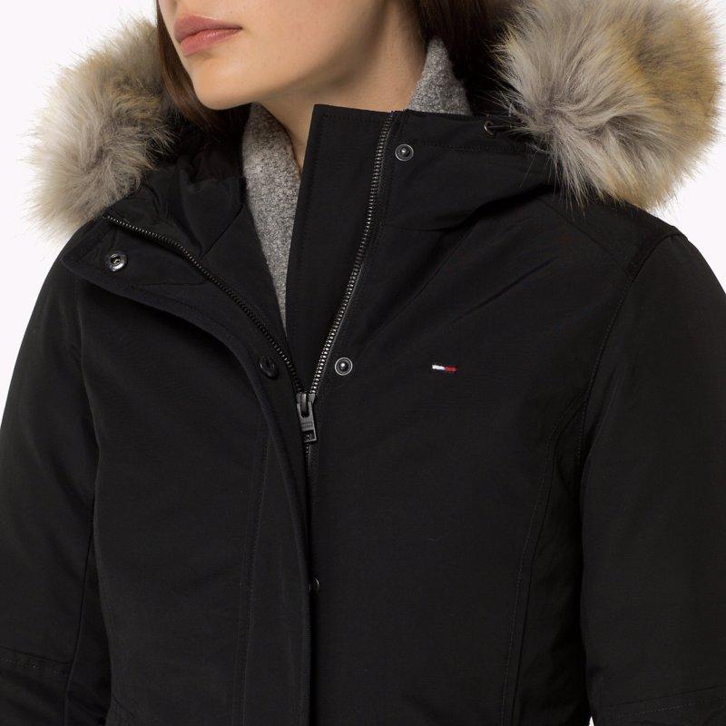 manteau blouson tommy hilfiger denim noir pour femme. Black Bedroom Furniture Sets. Home Design Ideas