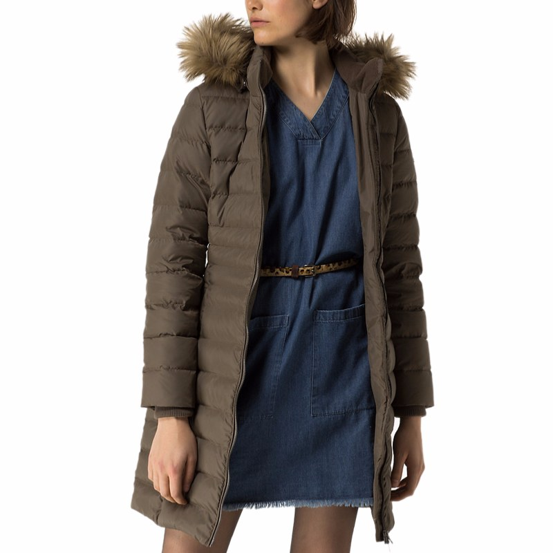 magasin en ligne 42774 f6456 Doudoune longue Tommy Hilfiger modèle Maria black olive pour femme