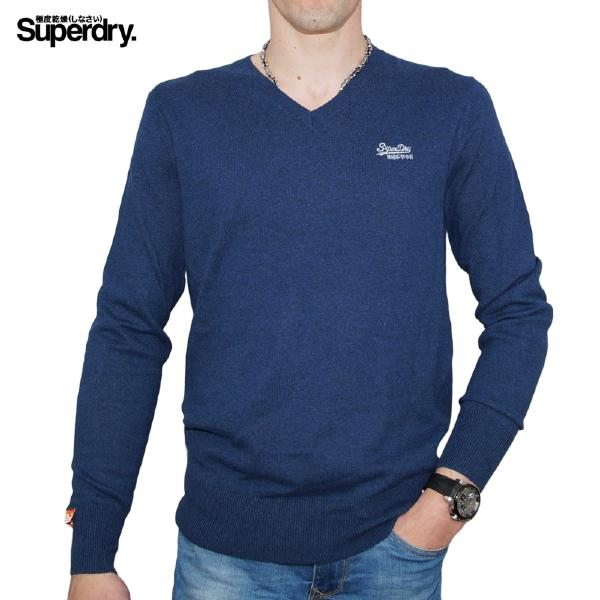 Pull Superdry homme modèle New Orange Label Vee couleur Dark Blue