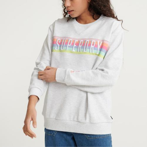Sweat femme Superdry en molleton gris chiné logo multicolore