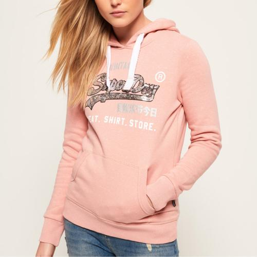 Sweat femme Superdry Shop Sequin rose logo argent