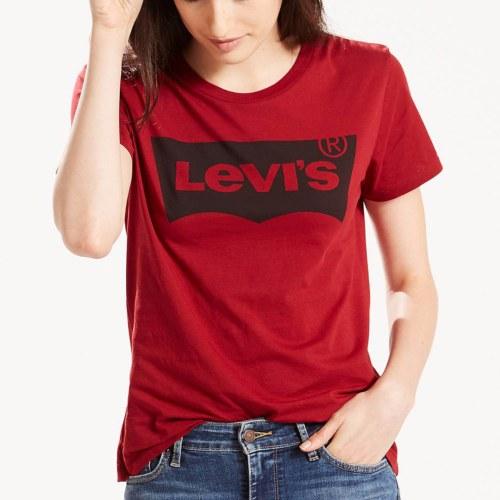 T Shirt Femme Levis Rouge Avec Grand Logo Devant