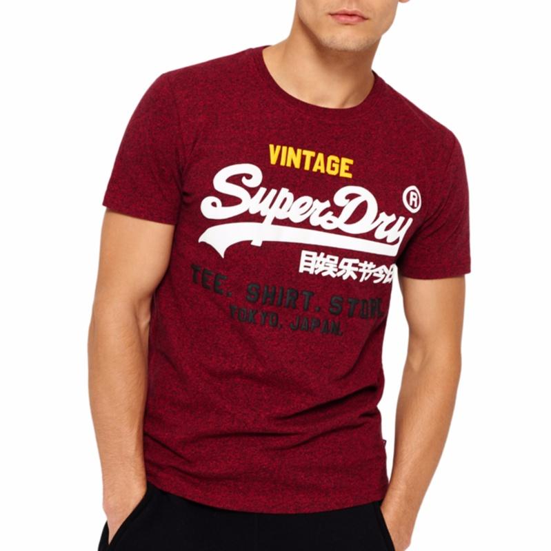 T Shirt Superdry homme bordeaux chiné logo Vintage superdry ...