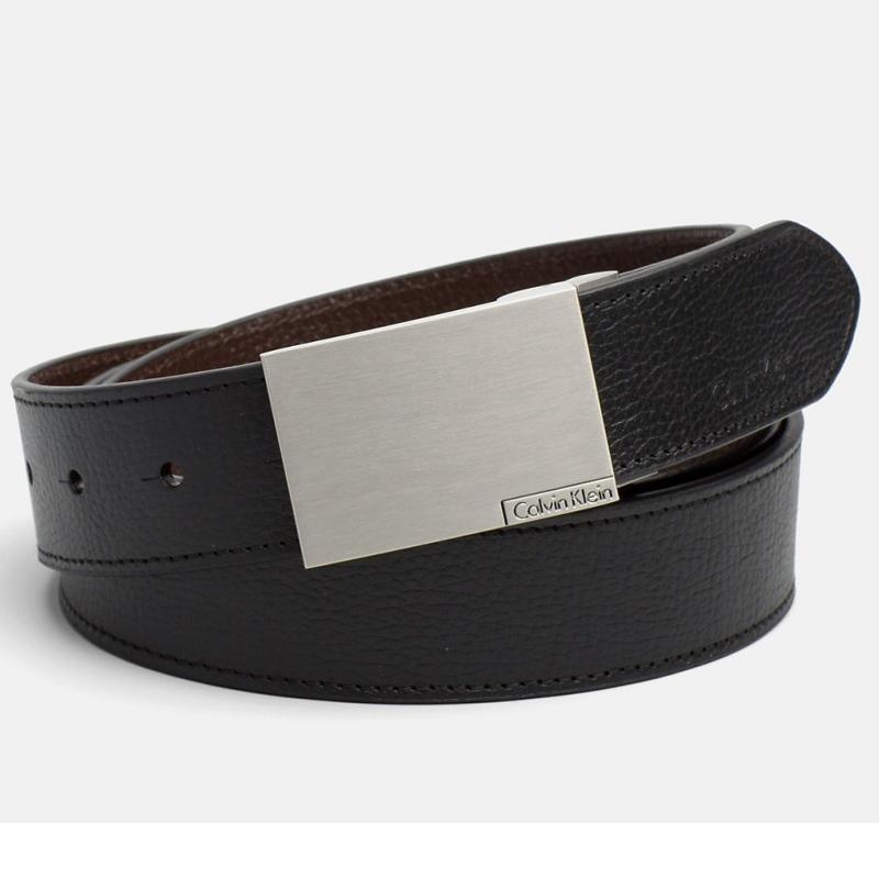dd26afb93b6d ... Coffret ceinture Calvin Klein cuir noir et marron + 2 boucles ...