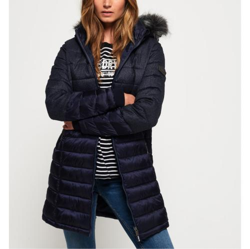 Doudoune longue Superdry Luxe Super Fuji Mix bleu marine