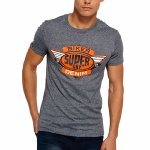 T Shirt Superdry Reworked Tee gris chiné logo orange pour homme