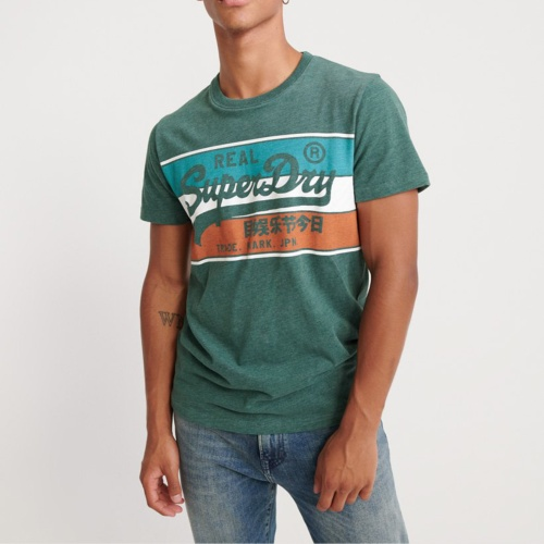 T Shirt Superdry Vintage Logo Racer Panel Tee vert chiné