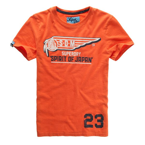 Superdry - Tee Shirt Superdry modèle SDM Wing Tin Tab couleur orange pour homme