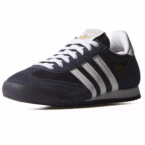 Chaussures Adidas Originals Dragon en nylon et cuir suédé bleu, 3 bandes  blanches 8710b24a2eaf
