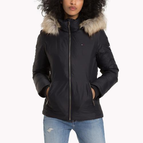 Manteau femme Tommy Hilfiger noir de coupe masculine · Tommy