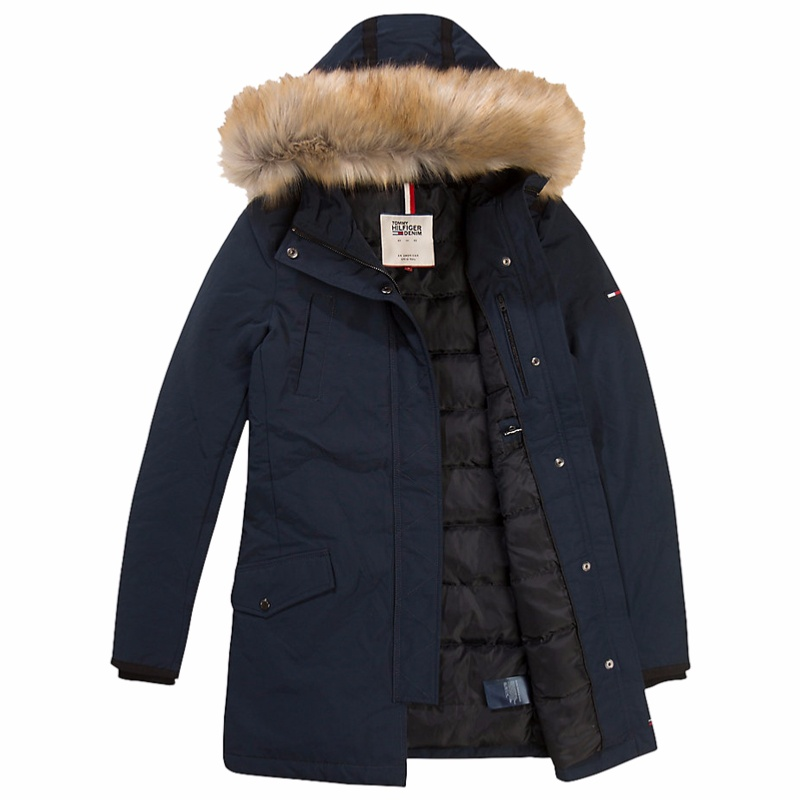 manteau blouson tommy hilfiger bleu marine pour femme. Black Bedroom Furniture Sets. Home Design Ideas