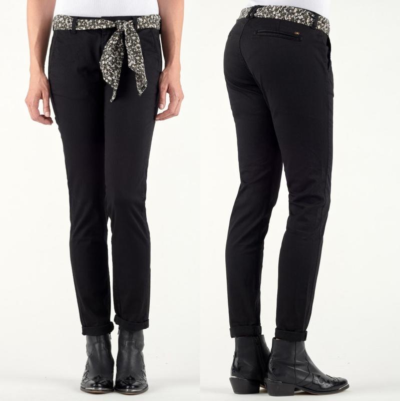 Pantalon chino femme le temps des cerises lidy noir - Pantalon treillis femme le temps des cerises ...