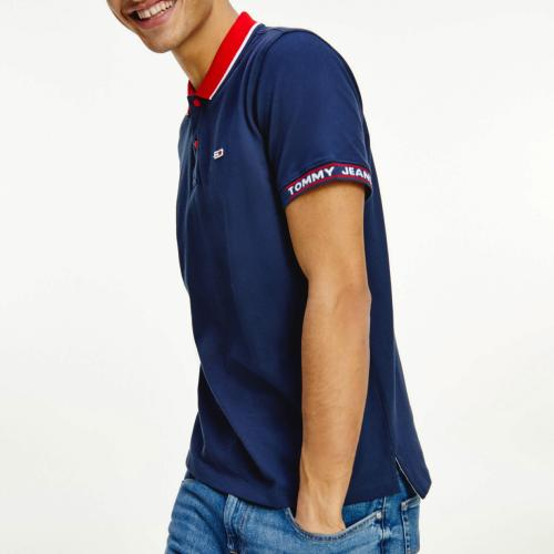 Polo homme Tommy Hilfiger bleu marine col rouge