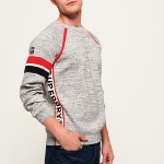 Pull Superdry homme Sd Gym Crew gris chiné