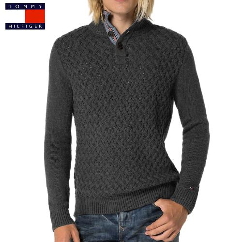 Pull col montant Tommy Hilfiger homme modèle Eagle gris anthracite