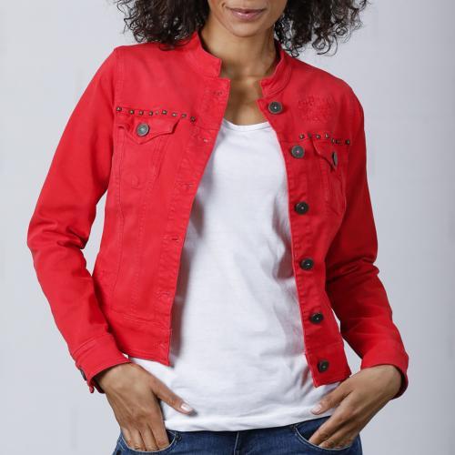 veste rouge femme en jean