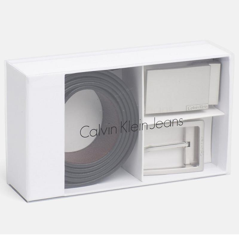 e48e1b12409d Coffret ceinture Calvin Klein cuir noir et marron + 2 boucles ...