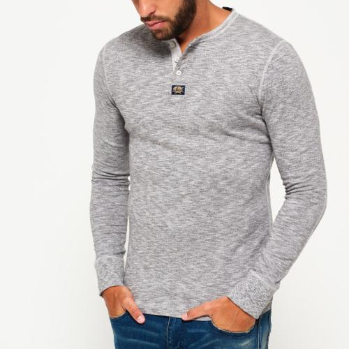 Top T Shirt manches longues Superdry Heritage Grandad gris