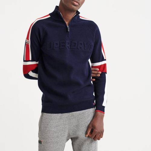 Pull col montant Superdry Downhill bleu marine