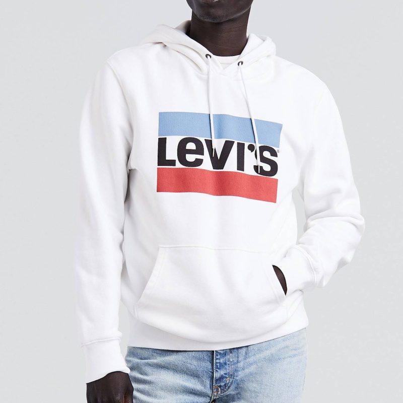 sweat levis homme sportswear hoodie blanc logo levi 39 s. Black Bedroom Furniture Sets. Home Design Ideas
