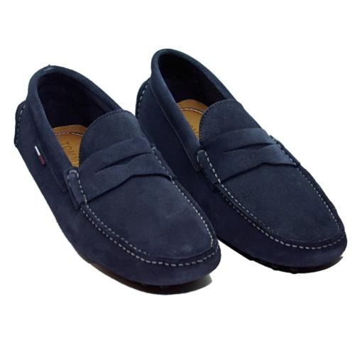Chaussures mocassins Tommy Hilfiger en cuir daim bleu marine