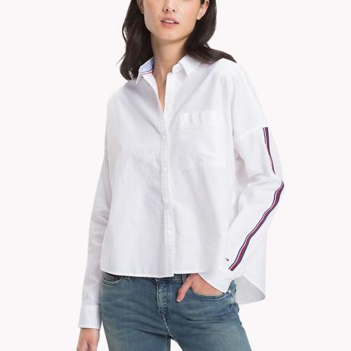 chemise blanche femme tommy hilfiger jeans coupe ample. Black Bedroom Furniture Sets. Home Design Ideas