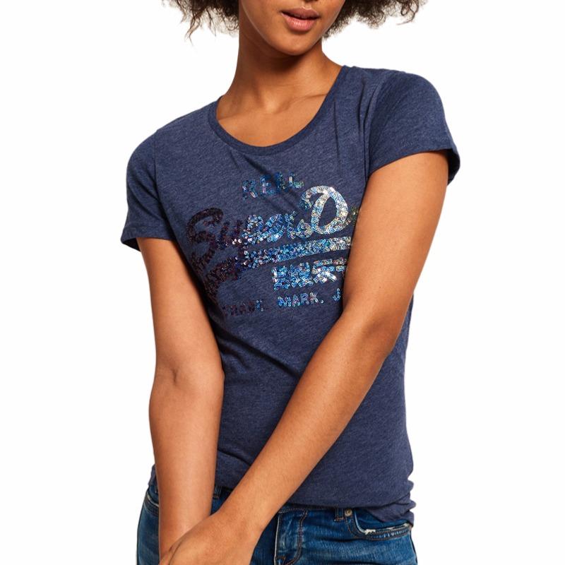 T Vintage Femme Logo Superdry Bleu Tee Shirt Sequin rqHTr 4ec8bcd7dbe