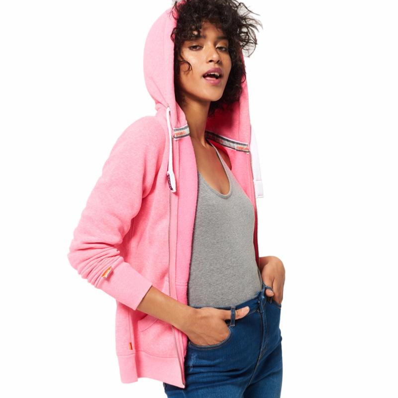 Sweat Veste Rose Superdry Femme Modele Orange Label