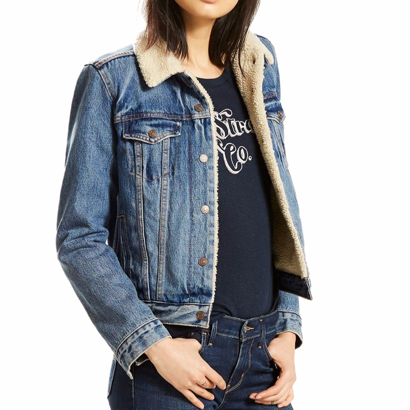 blouson en jean fourr levis femme sherpa trucker. Black Bedroom Furniture Sets. Home Design Ideas