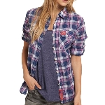 Superdry - Chemise Superdry pour femme modèle Sheer Calamity couleur Navy Pink