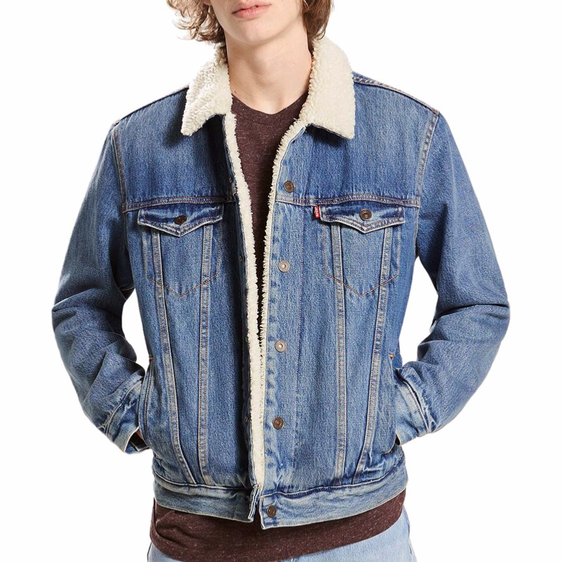 blouson en jean fourr levis homme sherpa trucker. Black Bedroom Furniture Sets. Home Design Ideas