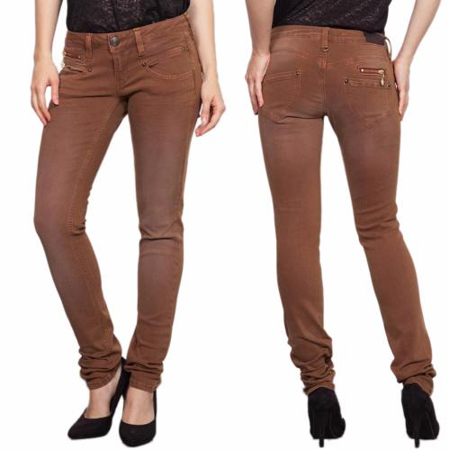 jean Freeman T Porter Alexa slim femme magic color beige moutarde copper