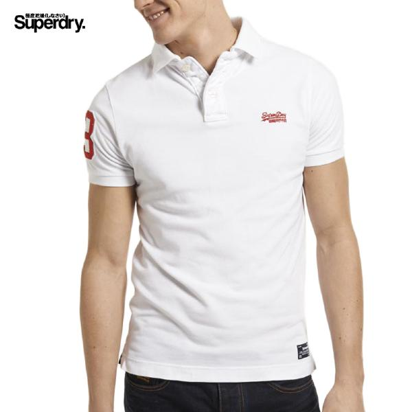 Polo Superdry homme modèle Vintage Destroyed blanc