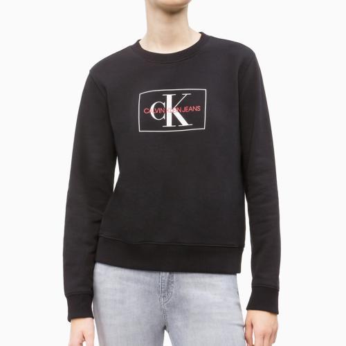 103ce4e5782 Sweat femme Calvin Klein CK Jeans noir logo blanc et rouge