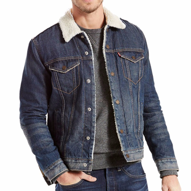 blouson en jean levis homme sherpa trucker doubl et fourr. Black Bedroom Furniture Sets. Home Design Ideas