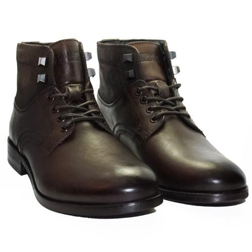 a2f7e7bc537e Chaussures Bottines Boots Tommy Hilfiger homme en cuir marron foncé