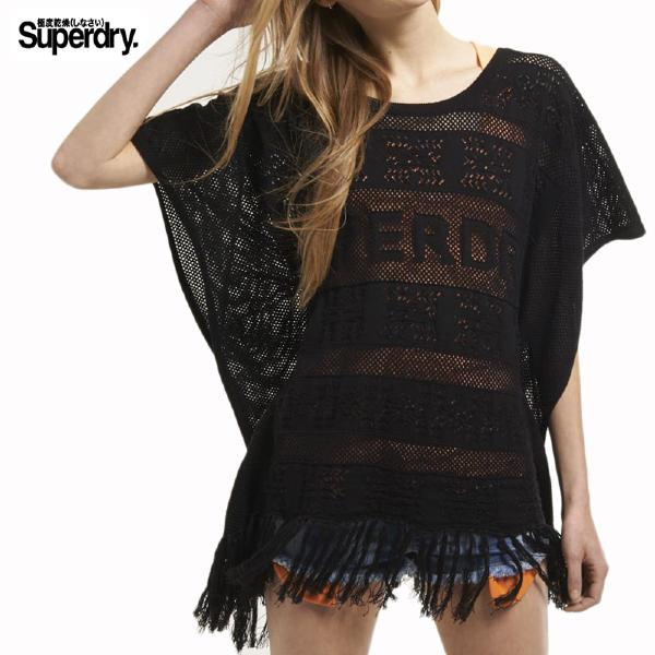 poncho Superdry femme Inka Beach Shawl en maille noire