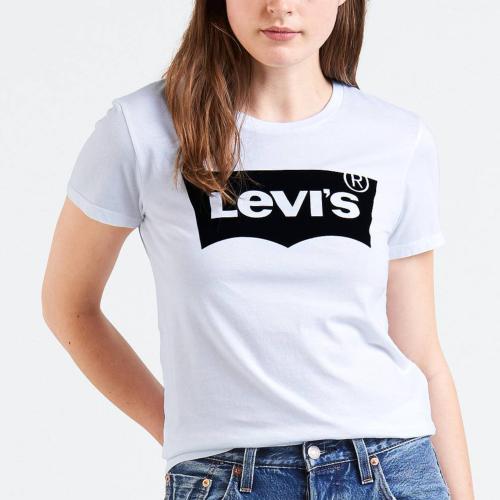 t shirt femme levis blanc avec grand logo levi 39 s noir. Black Bedroom Furniture Sets. Home Design Ideas