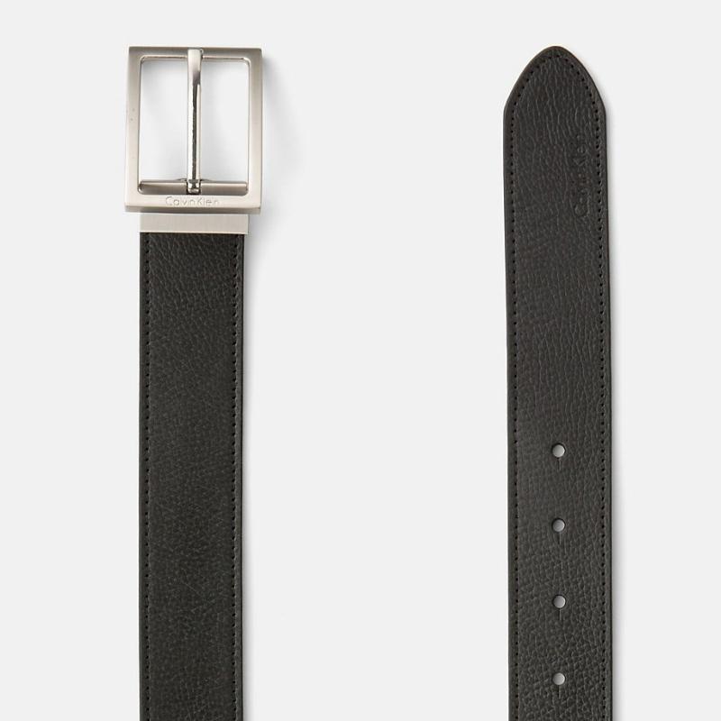 eb04ebc0655a ... Coffret ceinture Calvin Klein cuir noir et marron + 2 boucles