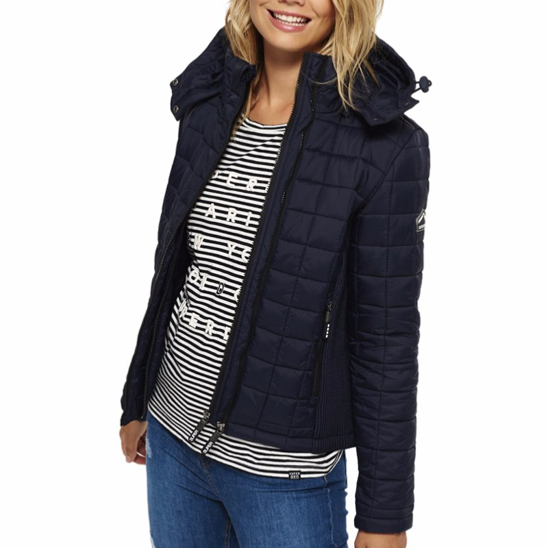 Doudoune Superdry femme Box Quilt Fuji Jacket bleu marine