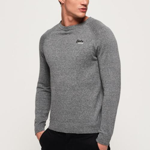 Pull Superdry homme gris logo brodé