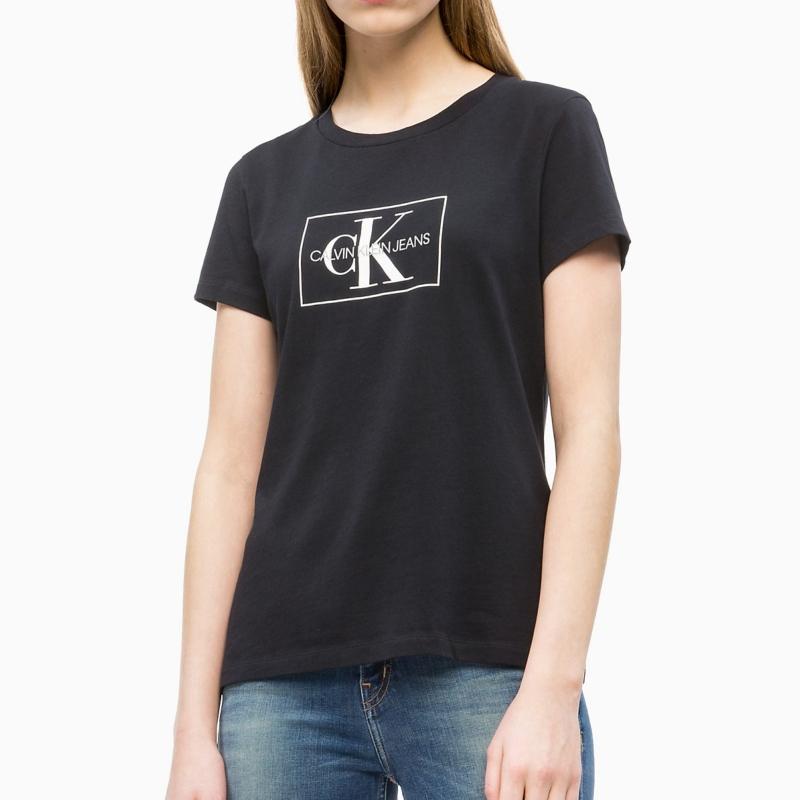 fd2f688f711 T Shirt Calvin Klein Jeans femme noir logo Ck gris et blanc ...