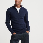 Pull col montant Superdry homme bleu marine