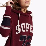 Sweat Superdry femme modèle Varsity Slouch bordeaux mountain red marl